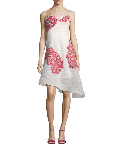 Strapless Paisley Cloqué Mini Cocktail Dress