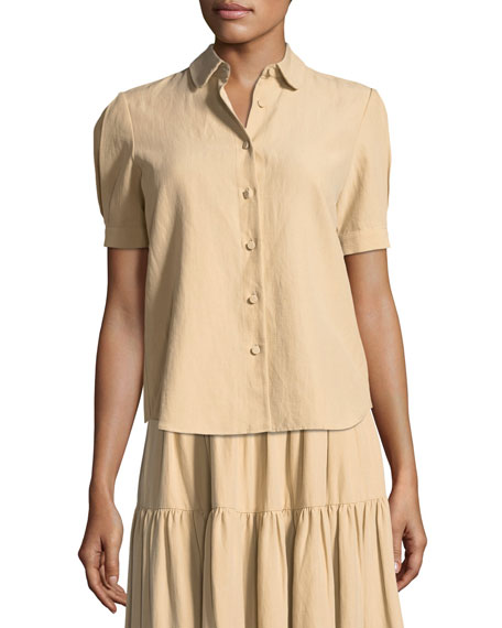 Short-Sleeve Button-Front Cotton-Linen Top