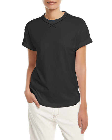 Crewneck Short-Sleeve Cotton Top w/ Monili Trim