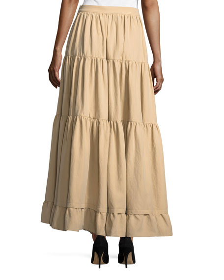 Long Tiered Cotton-Poplin Skirt