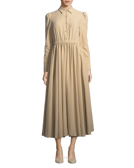 Long-Sleeve Button-Front Cotton-Linen Dress