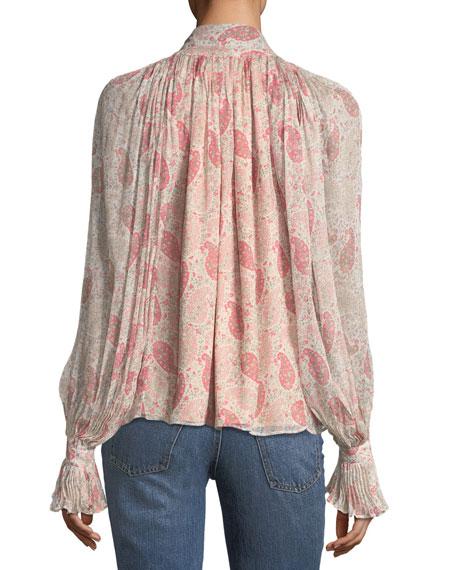 Paisley Floral-Print Tie-Neck Chiffon Blouse