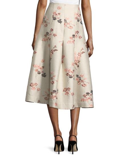 Floral-Jacquard Long Taffeta Skirt