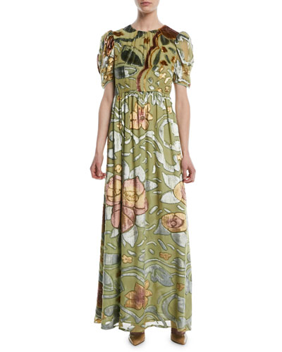 Pouf-Sleeves Hand-Painted Watercolor Velvet Evening Gown
