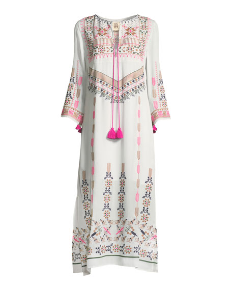 Josefina Split-Neck 3/4-Sleeve Embroidered Kaftan Dress