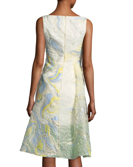 Iris-Motif A-Line Cocktail Dress