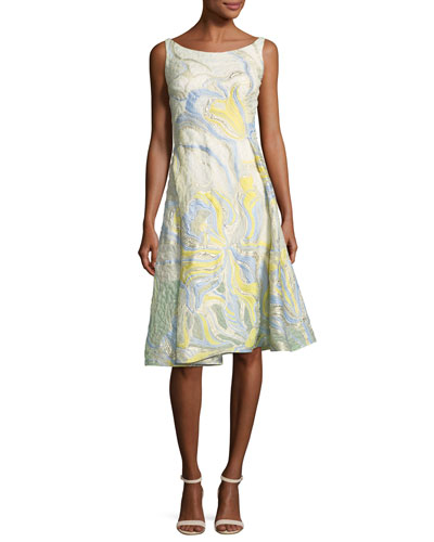 Iris-Motif A-Line Cocktail Dress