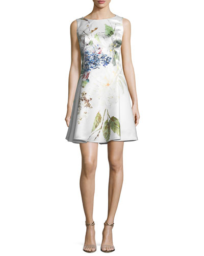 Floral-Print Satin Fit-and-Flare Cocktail Dress