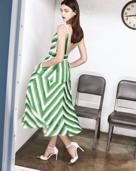 High-Neck Sleeveless Organza Striped Jacquard Long Dress