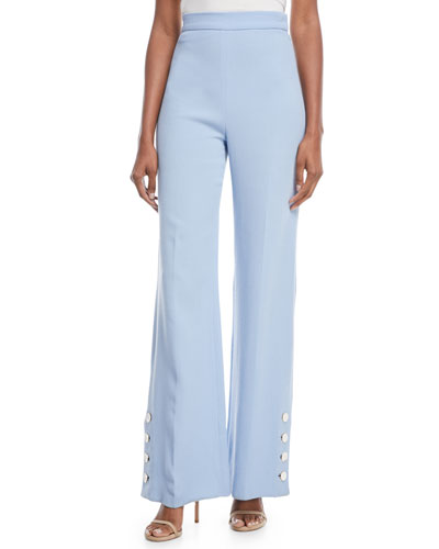 Wool-Crepe Wide-Leg Pants with Buttons