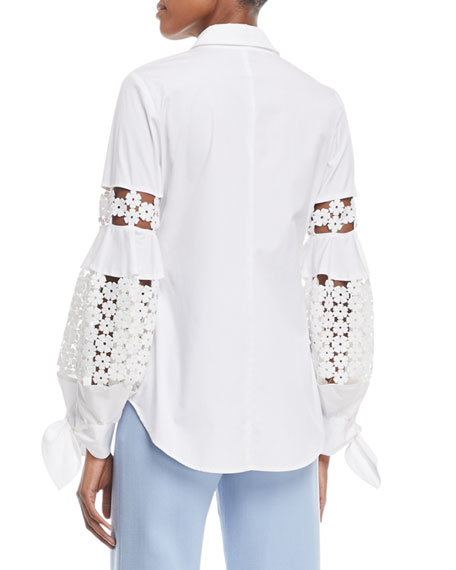 Button-Front Collared Stretch Poplin Shirt w/ Lace Insets