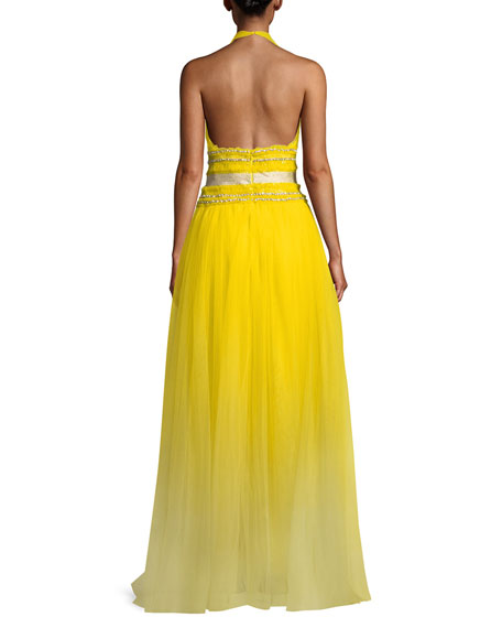 Sleeveless Sweetheart Halter Embellished Tulle Evening Gown