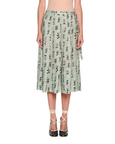 Vine-Print Woven Midi Skirt