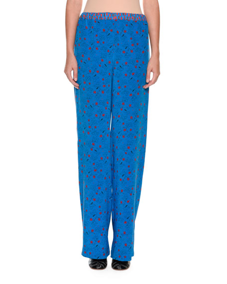 Wide-Leg Printed Silk Pajama Pants