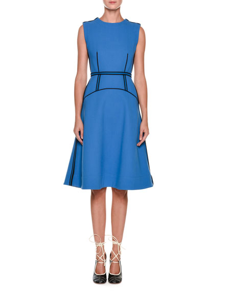 Sleeveless Wool-Cotton Crepe Dress with Contrast Piping