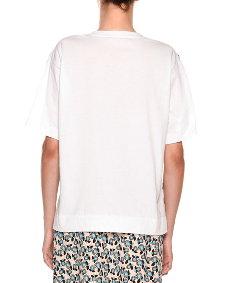 Crewneck Short-Sleeve Painted-Print T-Shirt