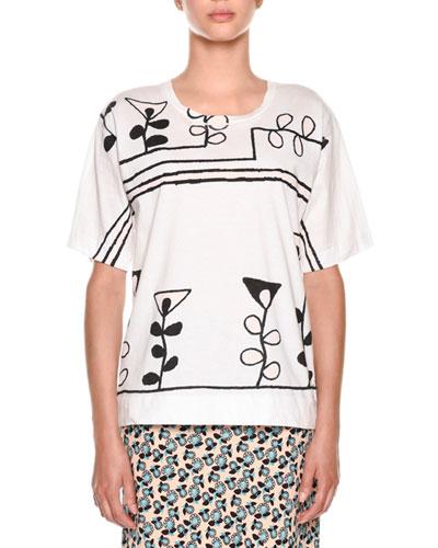 Crewneck Short-Sleeve Painted-Print T-Shirt
