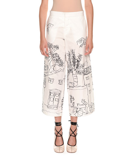 Artist Collaboration Wide-Leg Cotton Poplin Ankle Pants