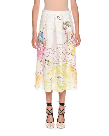 Marni Artist-Collaboration Printed Cotton Voile Pleated Ankle
