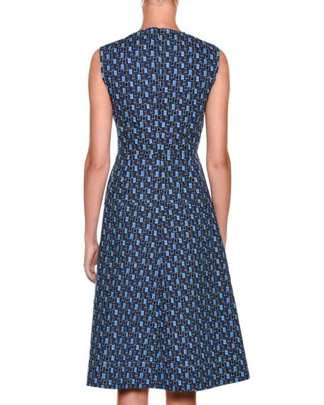 Sleeveless Cotton Poplin Printed Mid-Calf Dress
