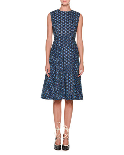 Sleeveless Cotton Poplin Printed Mid-Calf Dress