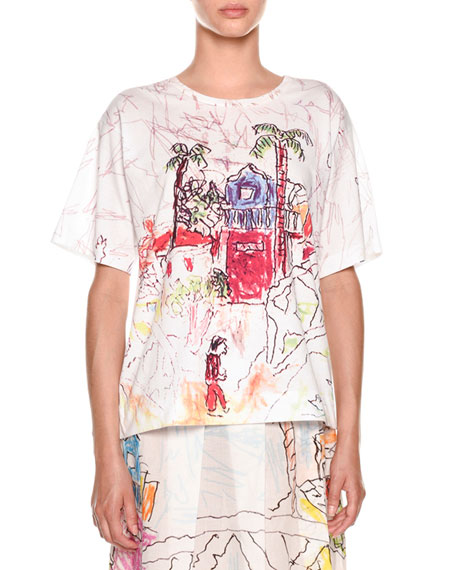 Marni Artist Collaboration Short-Sleeve Jersey Cotton T-Shirt and