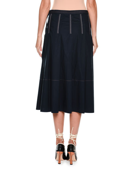 A-Line Mid-Calf Cotton Woven Skirt