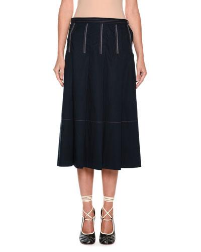 A-Line Mid-Calf Cotton Woven Skirt