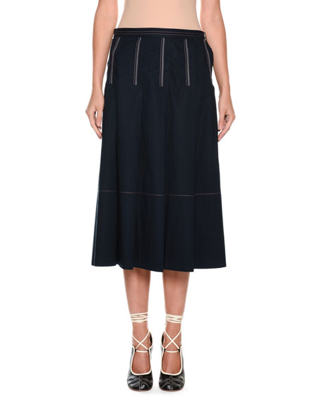 A-Line Mid-Calf Cotton Woven Skirt in Blue