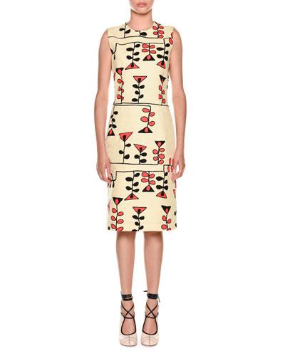 Sleeveless Vine-Print Sheath Dress