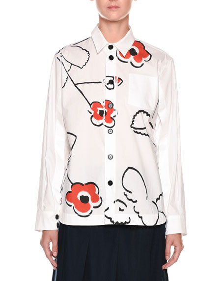 Marni Long-Sleeve Button-Front Poplin Blouse