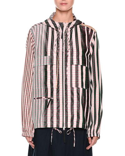Striped Check-Print Zip-Front Hooded Taffeta Jacket