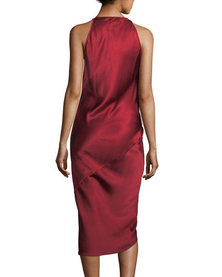 V-Neck Sleeveless Draped Silk Charmeuse Dress