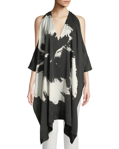 Splash Flower Cold-Shoulder Draped Silk Tunic