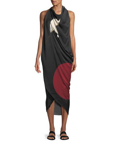 Abstract Brushstroke Print Silk Scarf Dress