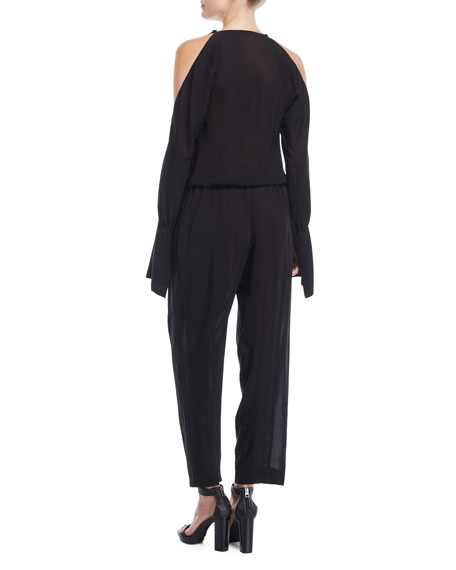 Draped-Front Cold-Shoulder Jumpsuit
