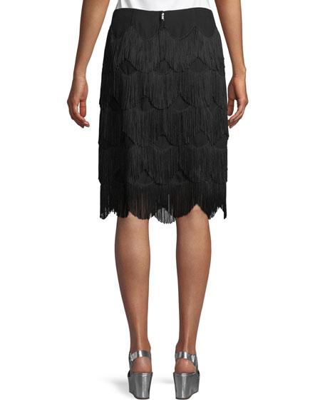 Tiered Fringe A-Line Knee-Length Skirt