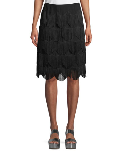 Tiered Fringe A-Line Knee-Length Skirt