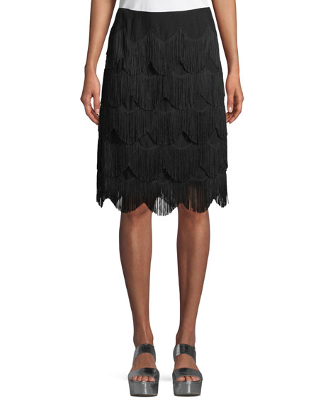 Marc Jacobs Tiered Fringe A-Line Knee-Length Skirt