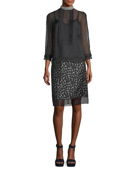 Dot-Jacquard Pencil Skirt