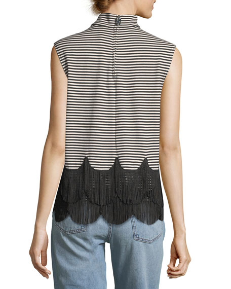 Mock-Neck Sleeveless Striped Top with Fringe