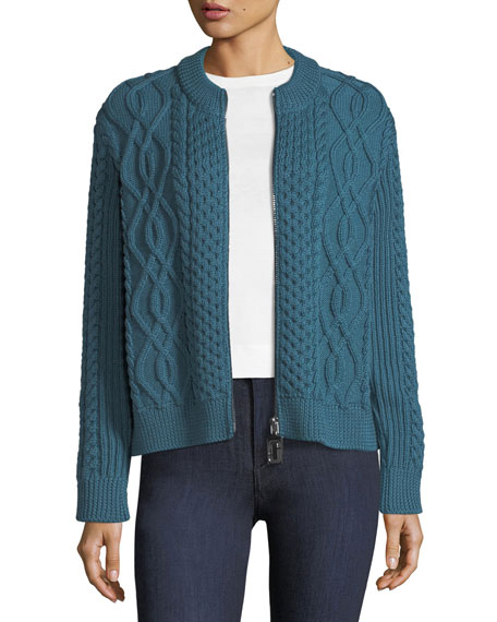 Zip-Front Crewneck Cable-Knit Merino Wool Cardigan