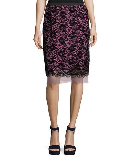 Marc Jacobs Flocked Floral Lace Straight Skirt with