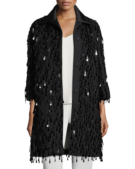 Marc Jacobs Button-Front Paillette Oversized Wool Coat