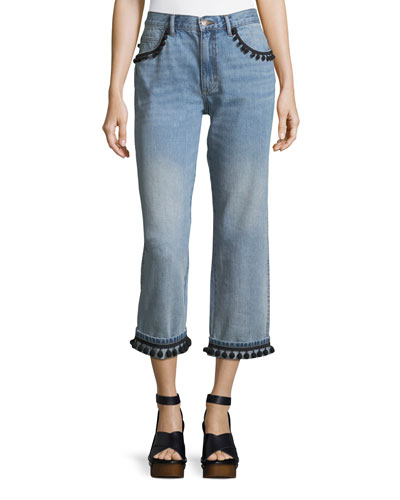 Straight-Leg Boyfriend Jeans with Pompoms