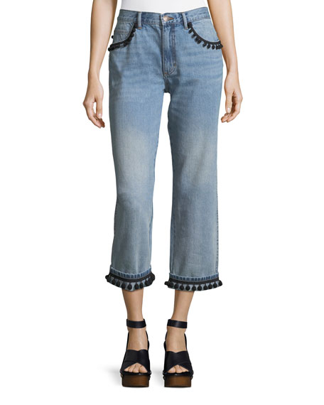 Straight-Leg Boyfriend Jeans with Pompoms