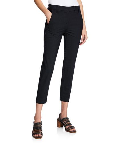 Lightweight Wool Pants with Monili Trim