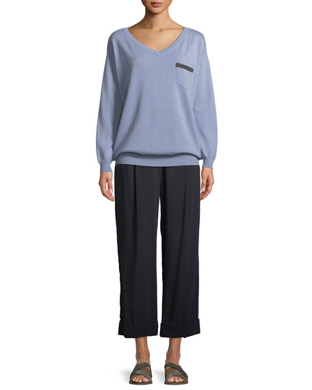 Wide-Leg Wool Voile Cropped Pants w/ Cuff