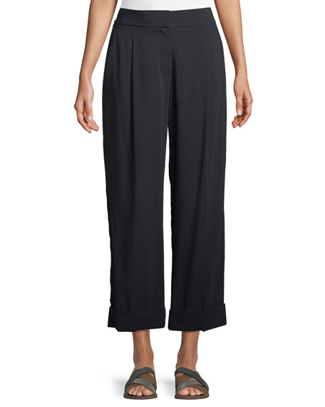 Brunello Cucinelli Wide-Leg Wool Voile Cropped Pants w/