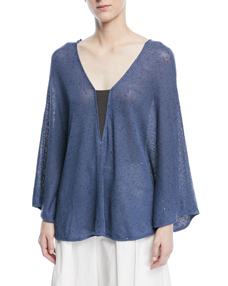Brunello Cucinelli V-Neck Long-Sleeve Linen-Silk Paillette